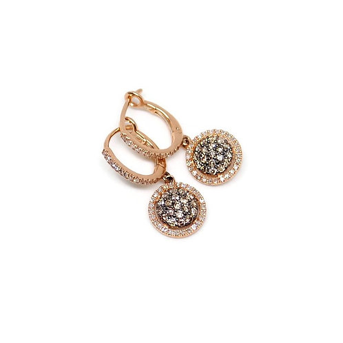 Rose Gold and Chocolate Diamond Pave Halo Earrings
