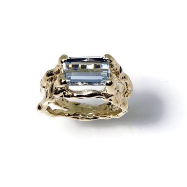 Aquamarine engagement ring with textured twig setting