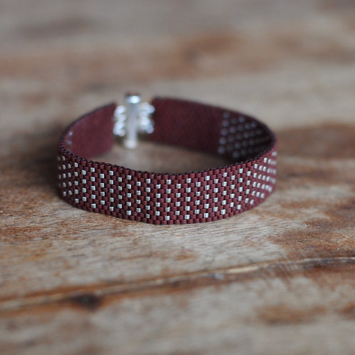 Burgundy and Silver Woven Beaded Bracelet by Samantha Taylor