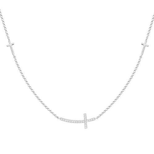 Triple Sideways Cross Necklace