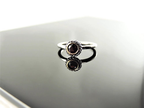 Ornate Round Garnet Ring