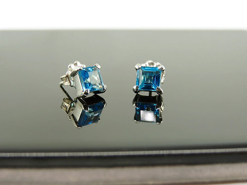 Square Blue Topaz Stud Earrings by Stephen Estelle