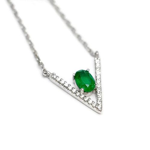 Emerald V Pendant with Diamonds