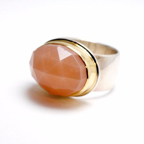 Rose Cut Peach Moonstone Ring by Linda Blumel