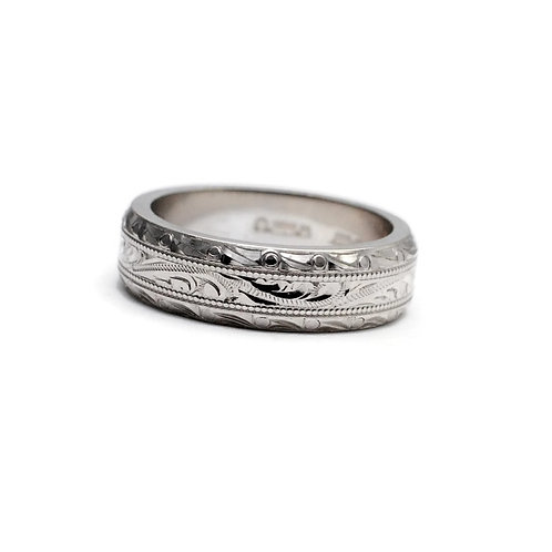 Hand Engraved 5mm White Gold Band