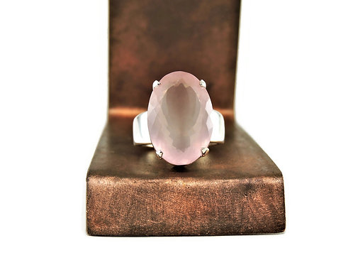 Large Sterling Silver & Rose Quartz Ring