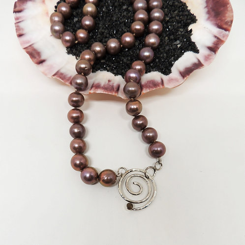 Bronze Pearls with Spiral Yellow Tourmaline Clasp