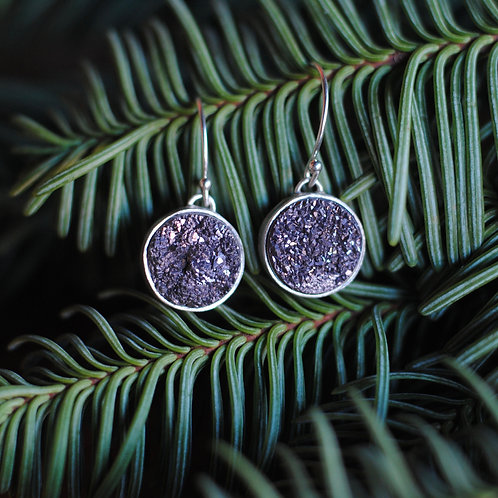 Lavender Bezel Set Druzy Earrings by Cassie Leaders