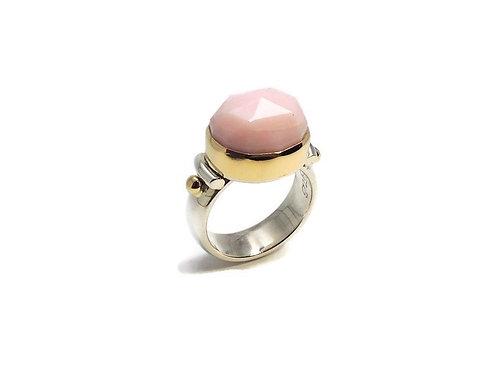 Rose cut Pink Opal Ring by Linda Blumel