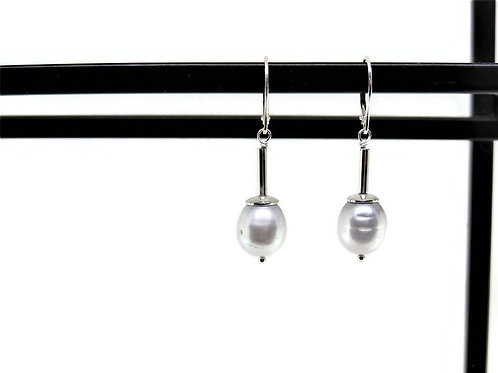Silver Pearl Earrings by Linda Blumel