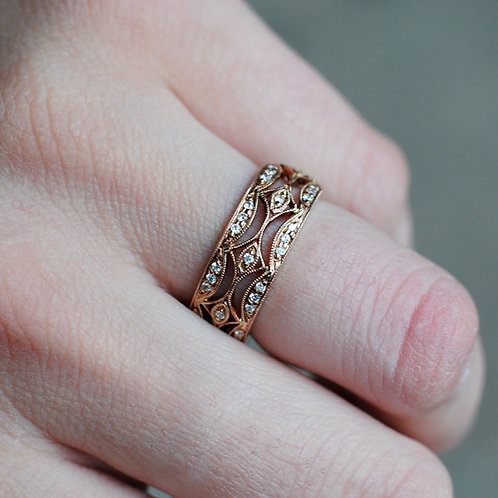 Rose Gold Marquise and Diamond Wide Band