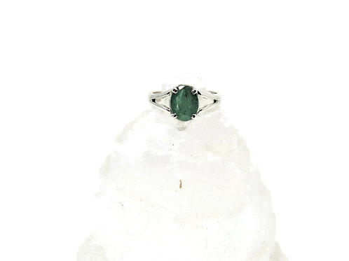 Faceted Oval Emerald Ring
