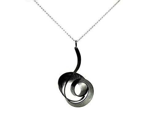 Oxidized Sterling Silver Musical Note Necklace by Mysterium