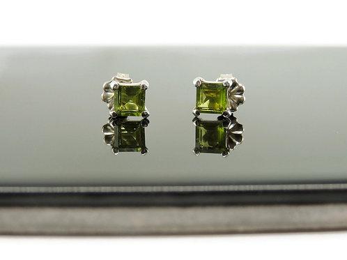 Square Peridot Stud Earrings by Stephen Estelle