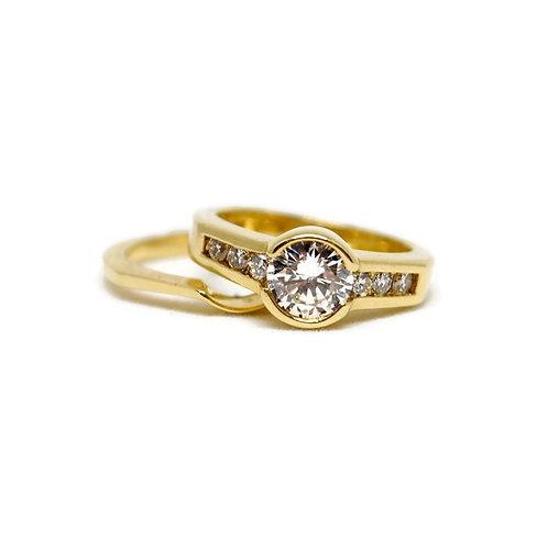 Half Bezel Diamond Wedding Set