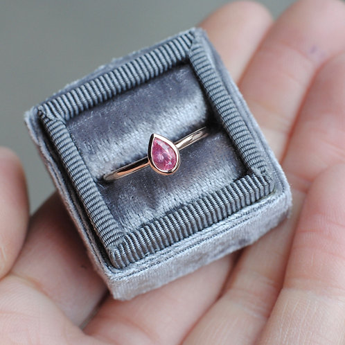 Pear Shaped Pink Spinel Bezel Set Ring in Rose Gold