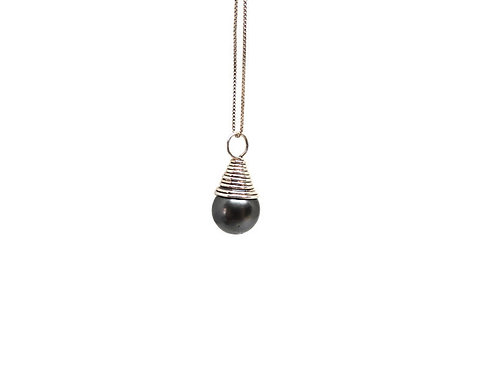 Coil Wrapped Pearl Pendant by Cassie Leaders