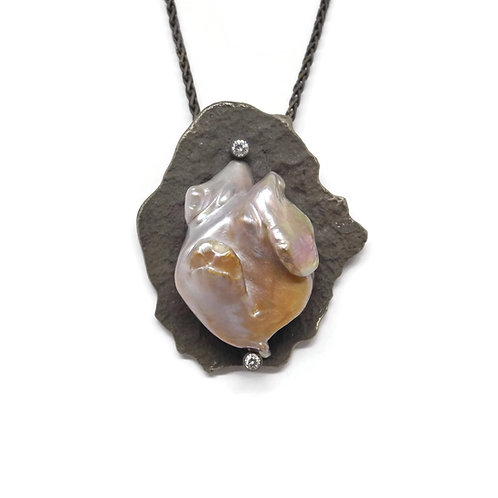 Melted Sterling Pendant with Freshwater Pearl by Dwaine Ferguson