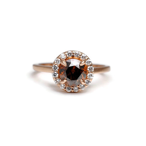 Cognac Diamond with Halo Ring in Rose Gold