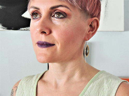 Black & Gold Marquise Threader Earring by Mysterium