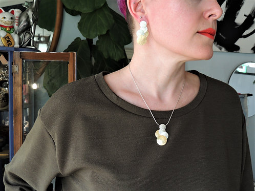 Two Tone Solid Circle Cluster Necklace by Mysterium