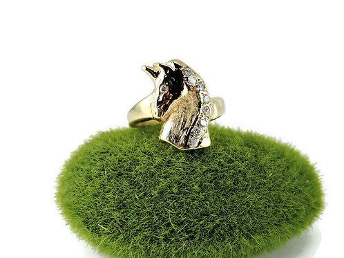 14k Yellow Gold & Diamonds Horse Ring