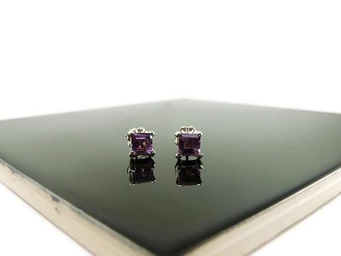 Square Amethyst Stud Earrings by Stephen Estelle