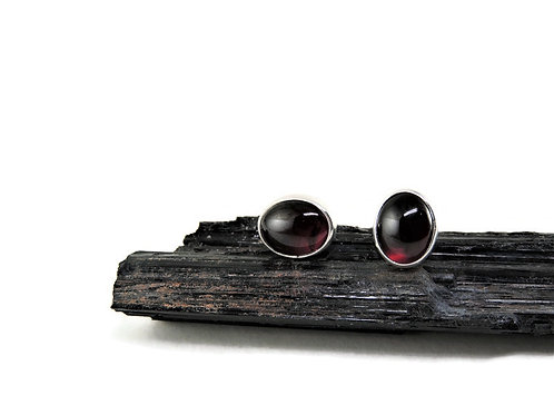 Oval Garnet Stud Earrings by Linda Blumel