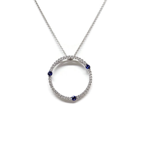 Open Circle Pendant with Blue Sapphires