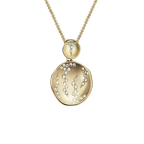 Luna Concave Disc Pendant with Diamonds