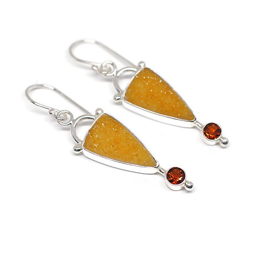 Golden Druzy and Citrine Earrings by Linda Blumel