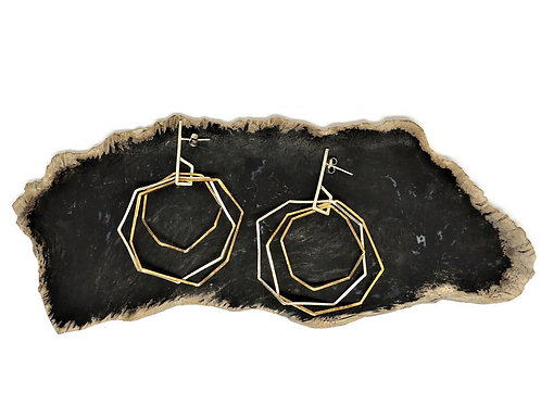 Triple Bent Octagon Earrings