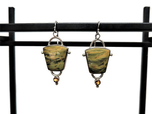 Morrisonite Jasper and Citrine Earrings by Linda Blumel