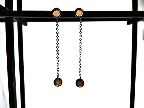 Oxidized & Gold-Plated Dot Earrings by Mysterium
