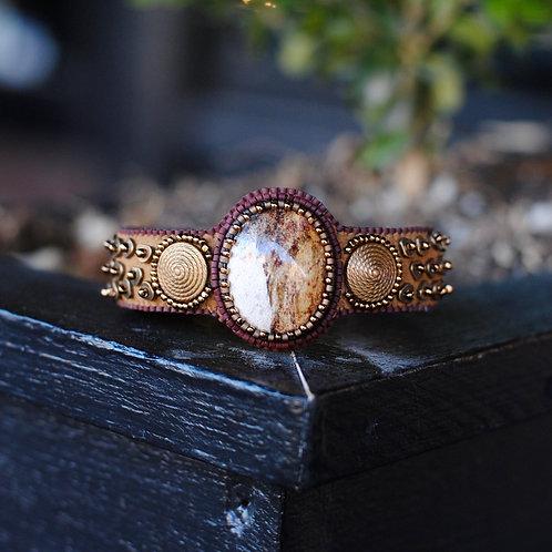Picture Jasper Beaded Cuff Bracelet by Samantha Taylor