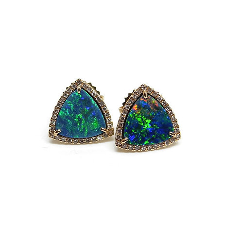 Blue Green Opal Triangle Stud Earrings with Diamond Halo