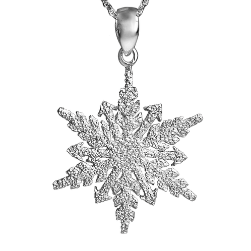 Sparkly Sterling Silver Snowflake Necklace