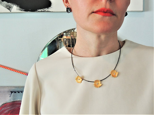 Gold Plated Petal Necklace by Mysterium