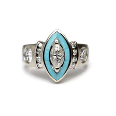 Marquise Engagement Ring with Turquoise Inlay
