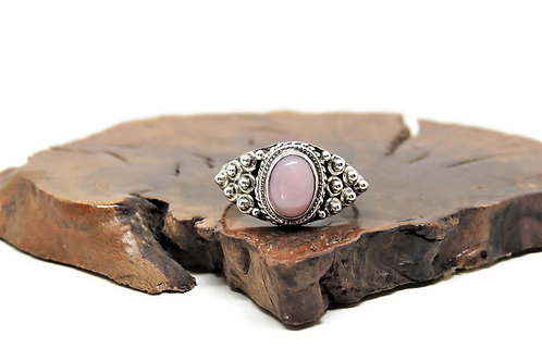 Ornate Oval Pink Opal Ring