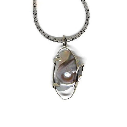 Freeform Mabe Blister Pearl Wrapped Pendant