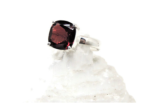 Faceted Cushion Shaped Garnet Ring