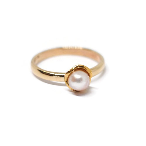 Organic Water Cast Ring with Pearl and Recycled Gold by Dwaine Ferguson