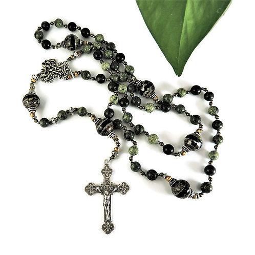 Green Jasper, Agate, & Sterling Silver Rosary by Elizabeth Brummel