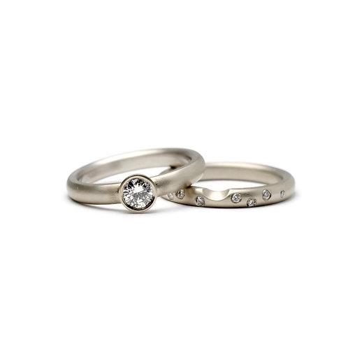 Bezel Set Diamond Wedding Set