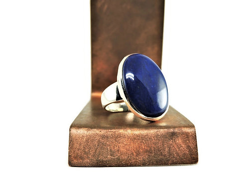 Sterling Silver & Large Oval Lapis Ring