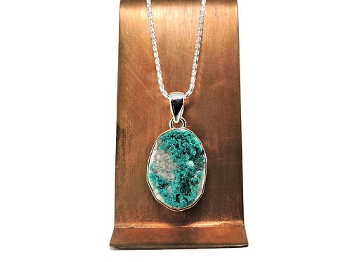 Sterling Silver & Dioptase Crystal Pendant