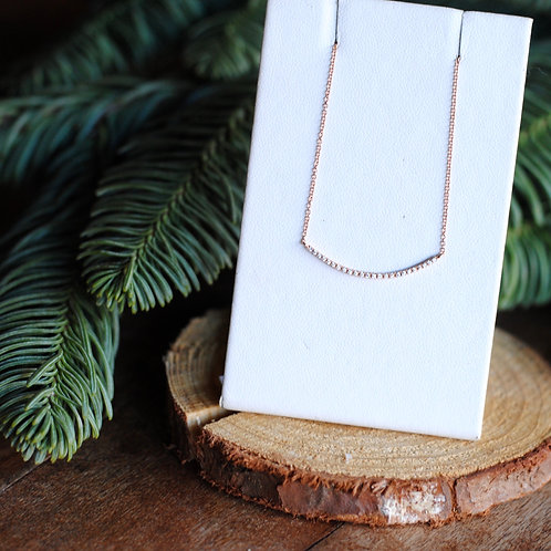 Curved Bar Diamond Necklace in Rose Gold