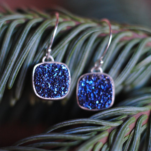 Blue Bezel Set Druzy Earrings by Cassie Leaders