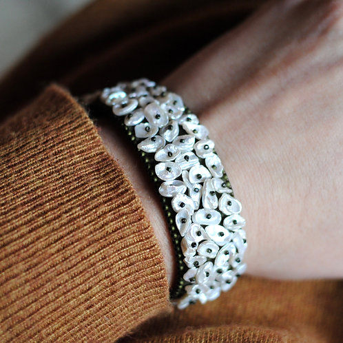 Ivy and White Pearl Embroidered Cuff Bracelet by Samantha Taylor